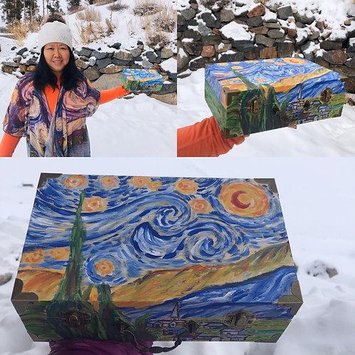 Starry Night Hand Painted Wood Box