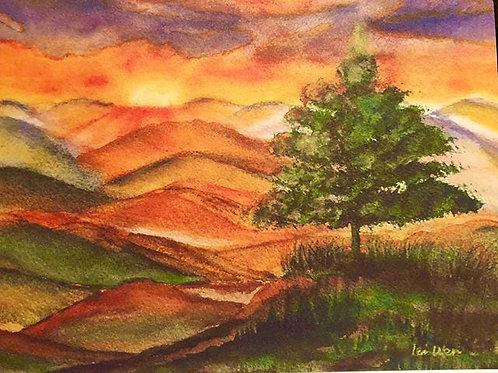 Sunrise Watercolor Painting, Landscape Watercolor Painting, Blue Ridge Parkway, Living room Decor painting, mountain sunrise