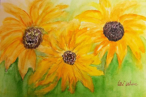 Sunflower painting, sunflower watercolor, watercolor, original watercolor painting, 7x10, birthday gift, wedding gift, small