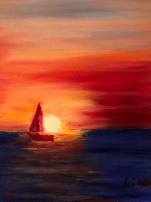 New Year Sailing Original Oil Painting