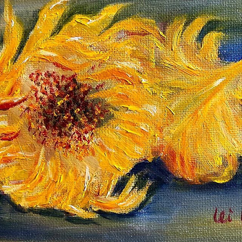 Sunflower painting, sunflower Original Oil, 5x7, birthday gift, wedding gift, small paintings, Oil Painting Original