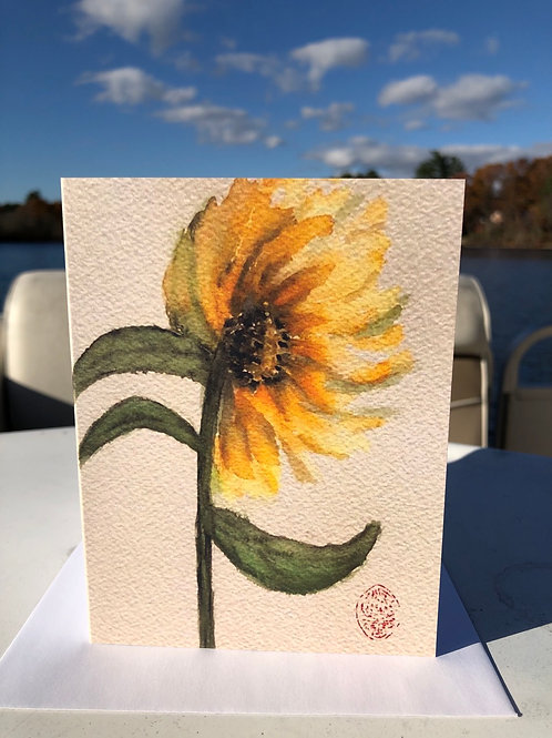 Sunflower Watercolor Note Card