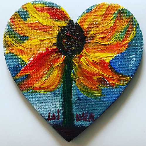 Sunflower in Heart  Original Magnetic Canvas Oil Paintings