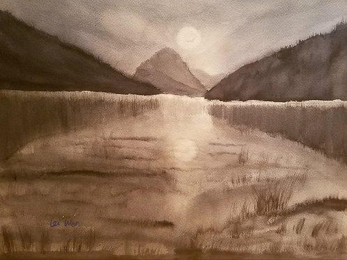 Moon Rise  Original Watercolor Paintings