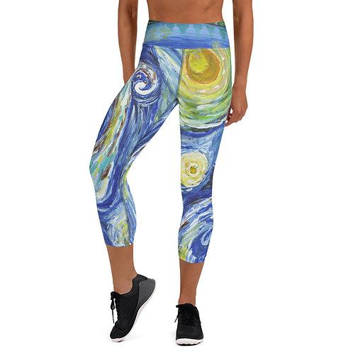 Starry Night Yoga Capri Leggings Front View