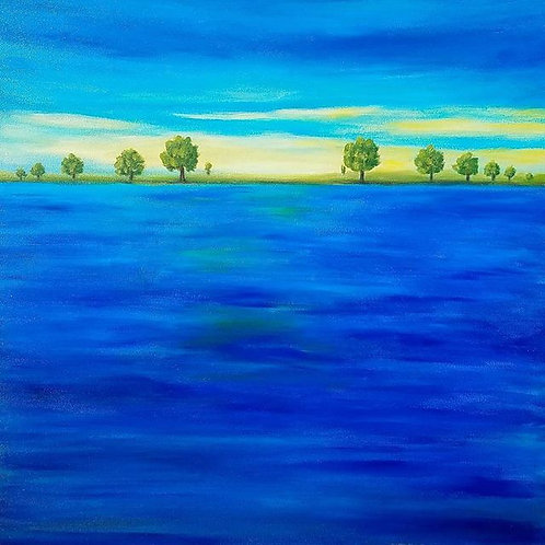 Abstract blue painting, Modern art paintings, Abstract landscape, 24x24, Ready to hang, canvas art, abstract wall art,