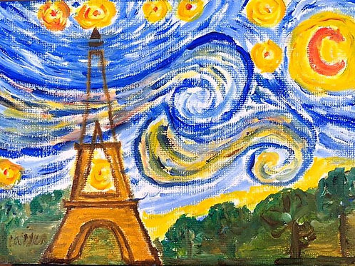 Starry Night over Eiffel Tower  Original Oil Painting