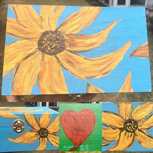 Sunflower Hand Painted Wooden Box
