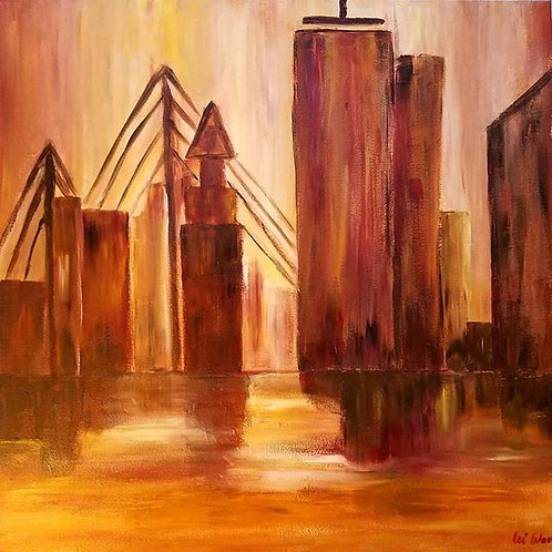 Boston Skyline, Abstract Painting, Modern office painting, 24x24, Canvas Art, Canvas wall Art, Abstract landscape painting