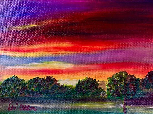 Country Sunset  Original Oil Painting