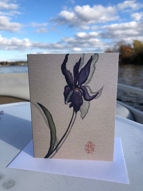 Iris Watercolor Greetings Card