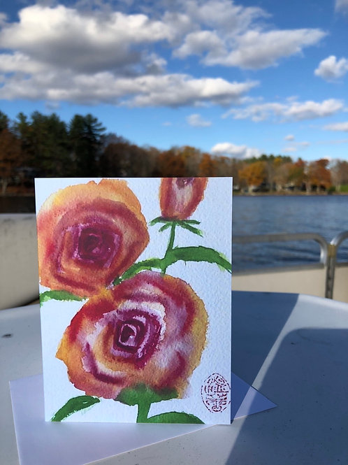 Yellow Flower of Peace - Watercolor Greetings Card