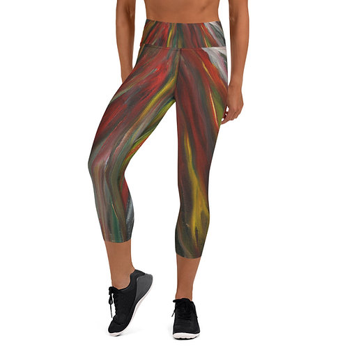 Yoga Capri Leggings - Fire Sprit