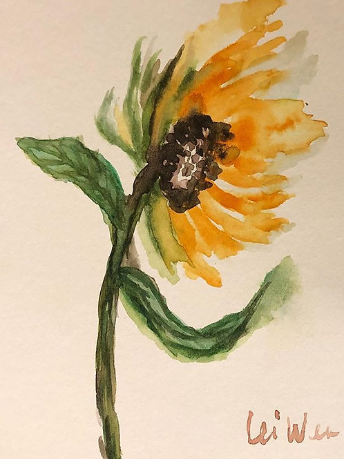 Lovely Sunflower  Original Watercolor Greeting Card