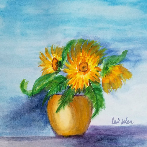 Van Gogh Sunflowers  Original Watercolor Paintings