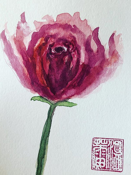 A Red Rose - Watercolor by Lei  Original Watercolor Greeting Card