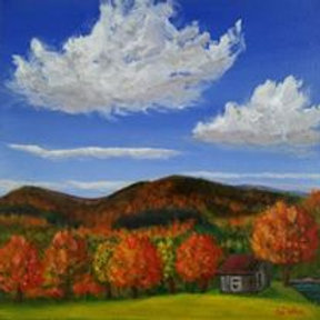 New England White mountains, Foliage, Red painting, Original Landscape, Hanging clouds, Cabins, Tree paintings, gift for mom