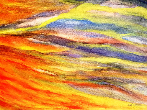 Fire on the mountain  Original Watercolor Paintings