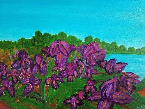 Landscape Painting, Iris painting, Van Gogh style, 18x24, zen painting, flower painting, flower wall art, floral painting
