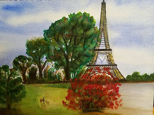 Paris painting, Watercolor Landscape, Landscape Watercolor Painting, effile tower, Living room Decor painting, Romantic art,