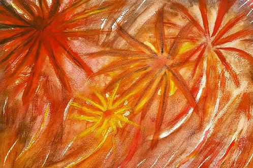 July 4th Firework Original Watercolor Paintings