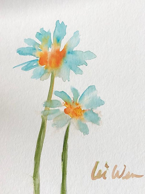 Mother and Daughter Daisies - Watercolor by Lei  Original Watercolor Greeting Card