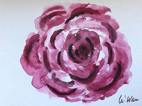 Red Rose - Watercolor by Lei  Original Watercolor Greeting Card