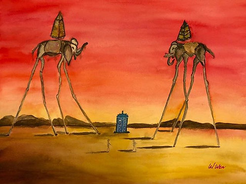 Original Watercolor, unique gifts, Romantic Gifts for Her, Red, Dali, elephant art, watercolor painting, dr who art, dr who