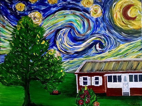 Starry Night over Grandma's house Original acrylic