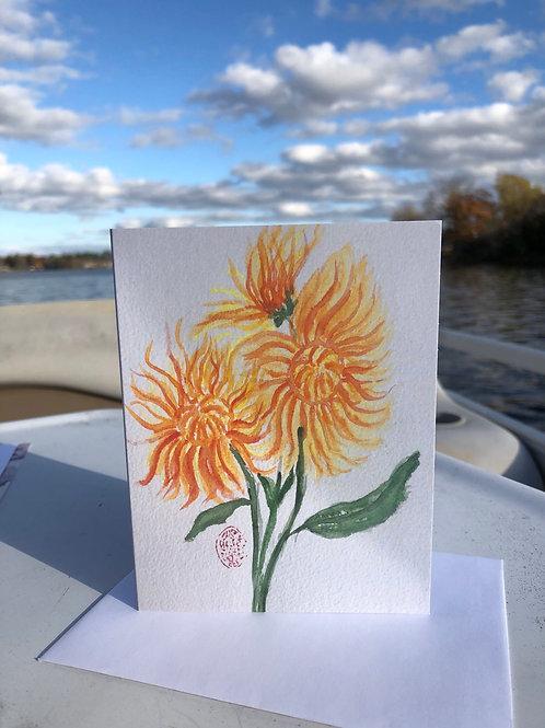 Chrysanthemums Watercolor Greetings Card