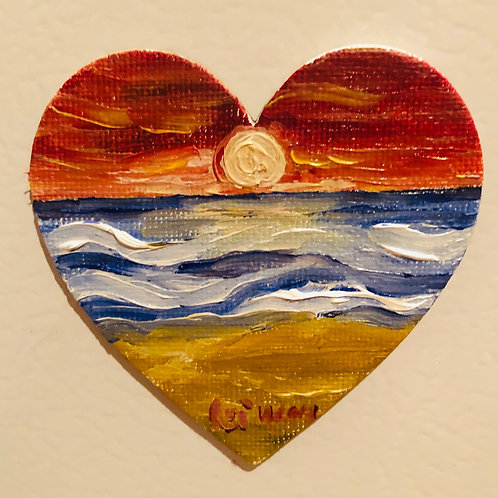 Heart of Sunrise  Original Magnetic Canvas Oil Paintings