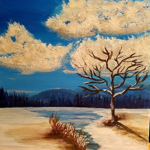Landscape Painting, Winter Painting, Canvas art, Canvas Painting, Square painting, 12x12, paintings on canvas, one of kind