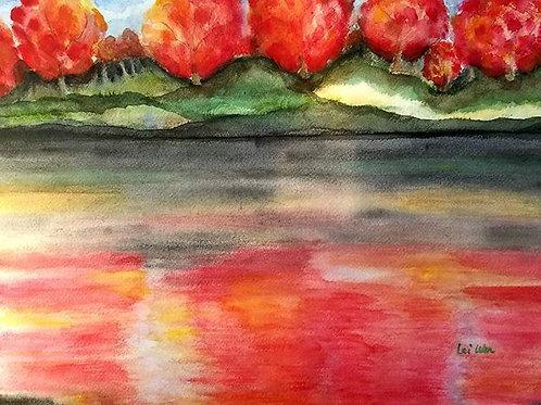 Foliage over the lake - Original watercolor, foliage, wall decor painting, Contemporary, Landscape, Living room Decor