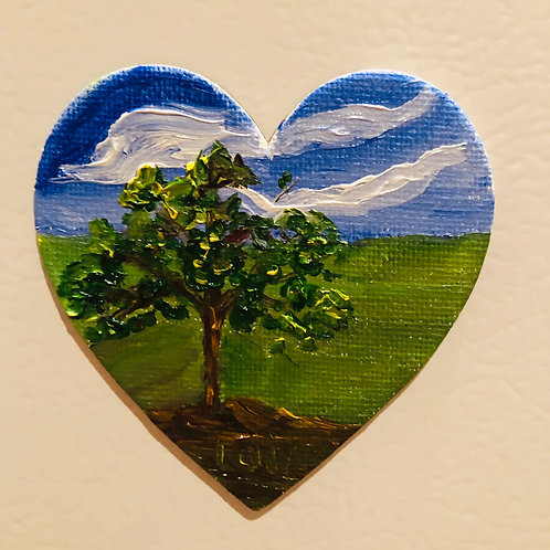 Heart of Tree  Original Magnetic Canvas Oil Paintings