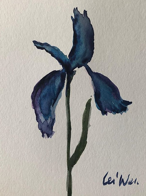 Purple Iris  Original Watercolor Greeting Card