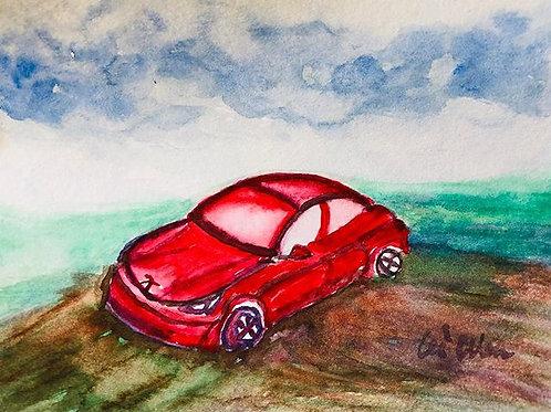 My Tesla - Watercolor by Lei  Original Watercolor Greeting Card