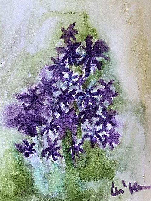 Purple Love - Watercolor by Lei  Original Watercolor Greeting Card