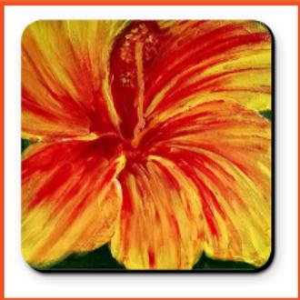 Set of 4 Artistic Coaster - Hibiscus