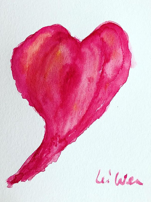My Heart - Watercolor by Lei  Original Watercolor Greeting Card