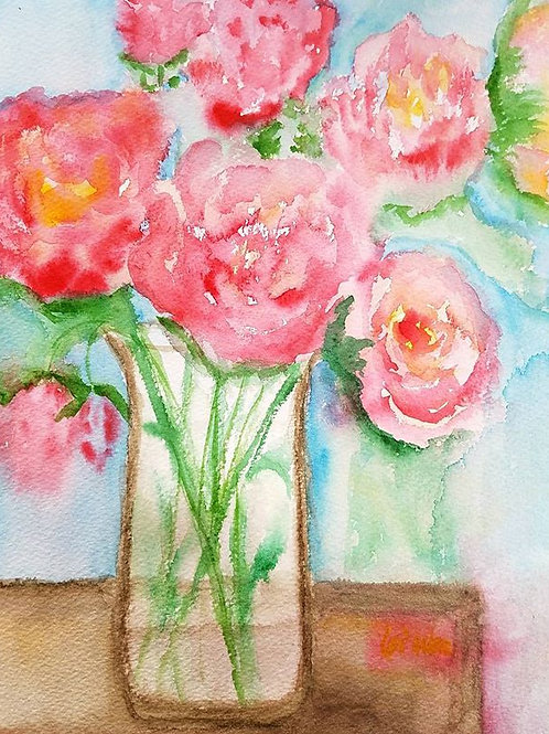Flower watercolor, Original watercolor, Watercolor Peonies, Romantic Gift for Her, Floral Painting, Romantic Wall Art