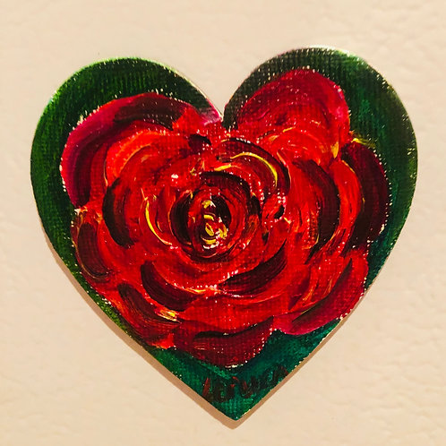 Rose in Heart   Original Magnetic Canvas Oil Paintings