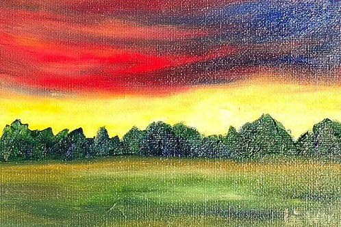Sunset over the field  Original Oil Painting