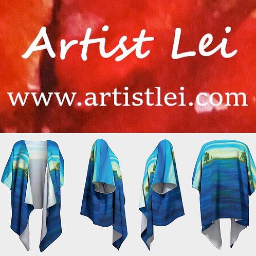 Deep Blue Sea Draped Kimono
