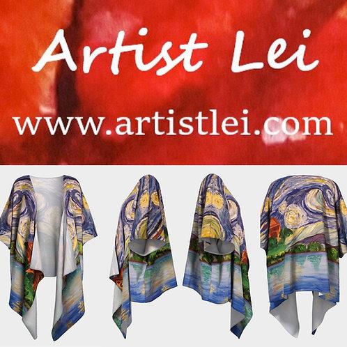 starry night draped kimono, swimwear cover-ups, swimwear wraps, shawls, vangogh, starry night over lake, artist lei, handmade