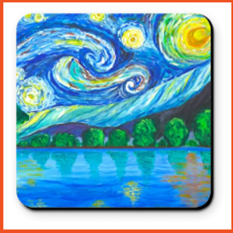 Set of 4 Artistic Coaster - Starry Night Over Lake