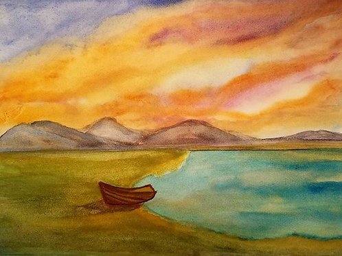 Watercolor art for sale, watercolor Landscape, Original watercolor, 7x10, Sunset painting, boat painting, Beach painting