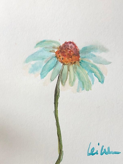 My Baby Daisy - Watercolor by Lei  Original Watercolor Greeting Card