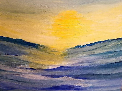 Ocean Sunrise, Ocean painting, modern office decor, modern office painting, Ocean Wave painting, Original Landscape painting,