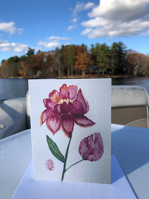 Peony Watercolor Note Card
