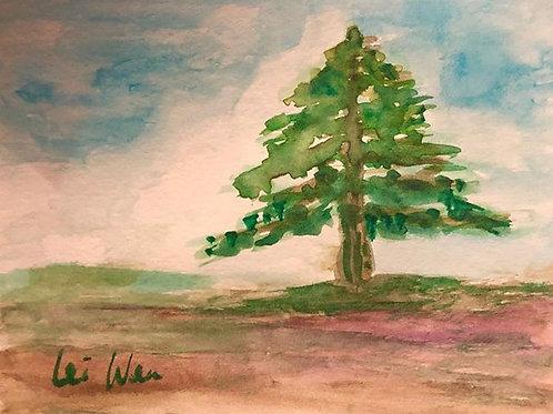 Joyful season - Watercolor by Lei  Original Watercolor Greeting Card